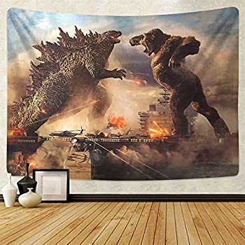 Godzilla Tapestry Wall Tapestry Godzilla vs Kong of The Monsters Poster Theme Party Supplies Tapestry for Boys Gifts Home Bedroom Living Room Dorm Wall Decor Fabric Wall Hangings