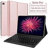 """kvago custodia con tastiera per tablet 10.4"""" samsung galaxy tab s6 lite 2020 sm-p610/ p615,layout italiano tastiera bluetooth wireless rimovibile con ultra sottile protettiva cover,oro rosa"""