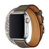 TEXSCOPE メンズ・レディース iwatch シリーズ6、iwatch シリーズ5、iwatch シリーズ4、iwatch シリーズ3、 シリーズ2 シリーズ 1の付け替え用ステンレスアダプターバックル付き、Apple ウォッチバンド、 本革ダブルツアーAppleウォッチストラップ38mm/40mm/42mm/44mmに適合するTEXSCOPE (38mm/40mm, グレー/ベトン)