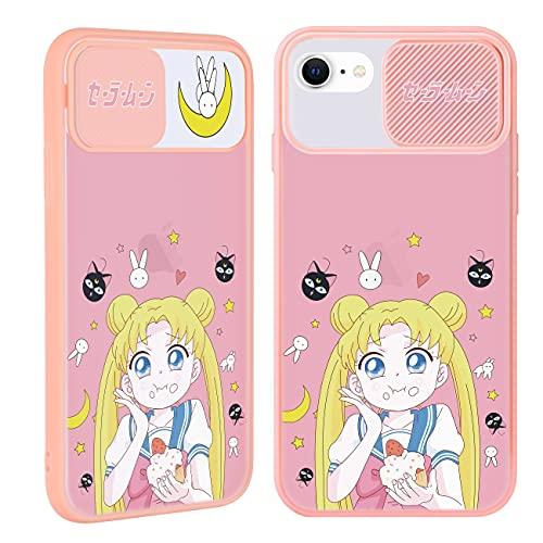 Joyleop Push Moon Girl Case for iPhone 6/6S/7/8/SE 2020 4.7',Cartoon Cover Unique Anime Kawaii Fun Funny Cute Cool Designer Aesthetic Fashion Cases for Girls Boys Men Women for iPhone 6/6S/7/8/SE 2020