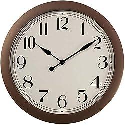 PresenTime & Co 11.5 Farmhouse Antique Bronze/Rustic Round Decorative Wall Clock, Quartz Movement, Battery Operated, Rustic Bronze Finish