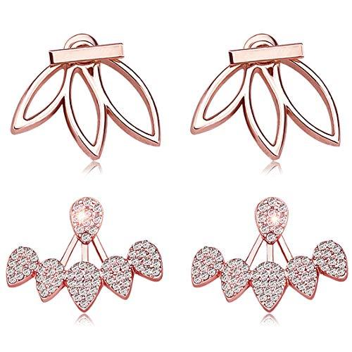 Suyi Mode Boucles d'oreilles de Fleur de Lotus Creuses Crystal Simple Élégant Boucles d'oreilles Set