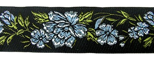 10m RosenBorte Webband 50mm breit Farbe: Hellblau-Schwarz 50096-blsw