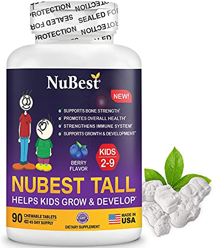 NuBest Tall Kids - Helps Kids Grow & Develop Healthily - Immunity & Bone Strength Support - Multivitamins & Minerals for Kids Ages 2 to 9 - 90 Chewable Berry Tablets - Fun Animal Shapes