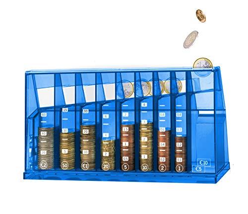 ECB Münzsortierer Euro Spardose | Für Büro und Kinderzimmer | Als Geschenk für Erwachsene und Kinder | Hergestellt aus recyceltem Material | Abschließbar (mit Schlüssel) | Transparent Blau