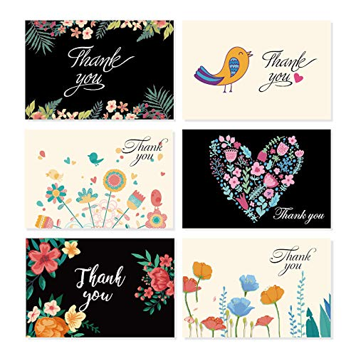 Greeting Cards, 36-pack Thank You Cards with Envelopes for Birthday Graduation Wedding, Blank Inside