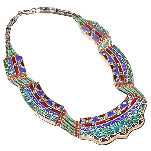 TRABAJO DE NEPALI TURQUESA Azul Lapislázuli y CORAL rojo COLLAR Tibetano 18 'de largo TIBETIANO Chapado en plata HECHO A MANO Joyas de arte Collar MULTI-PIEDRA BUDISTA tribal