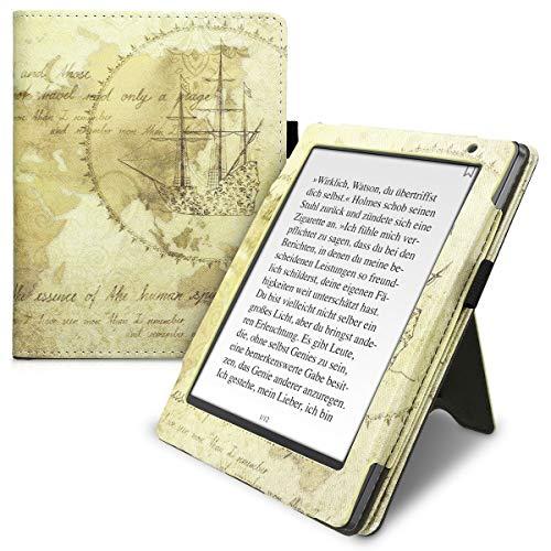 kwmobile Étui pour liseuse électronique Compatible avec Kobo Aura H2O Edition 2 - Housse Protection mappemonde Vintage Marron-Marron Clair