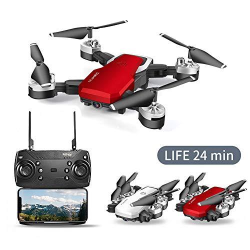 Qnlly WiFi FPV Batería de Larga RC Aviones no tripulados Gran Angular Selfie Quadcopter Altitud Aviones no tripulados con la cámara 4K 2,4 GHz Deone con Bolsa de Almacenamiento,Rojo