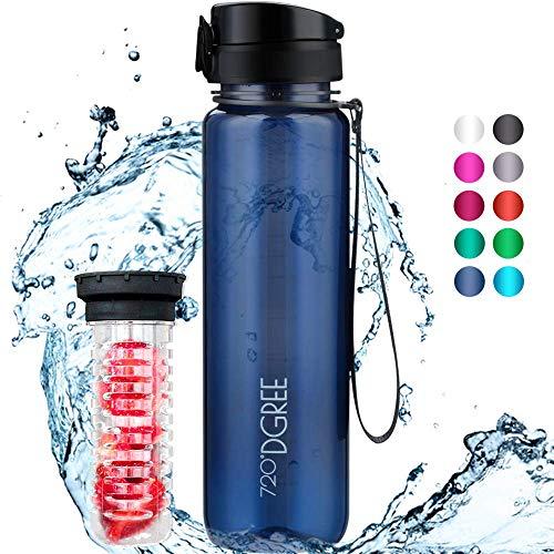 """720°DGREE Trinkflasche """"uberBottle"""" crystalClear +Früchtebehälter - 1L - BPA-Frei - Wasserflasche für Uni, Sport, Fitness, Fahrrad, Outdoor - Sportflasche aus Tritan - Leicht, Bruchsicher, Nachhaltig"""