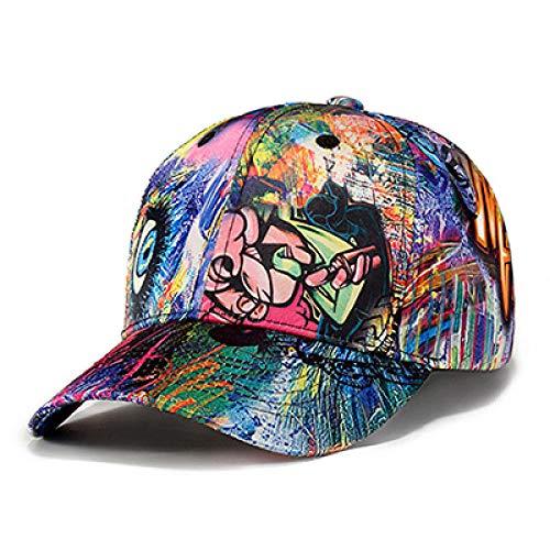 ZHXMI Neue Marke hip hop Cap Swag Bunte Druck Baseball Cap männer einstellbar Casual sonnenhüte für Frauen Sport Snapback caps@Blau_55 cm bis 60 cm