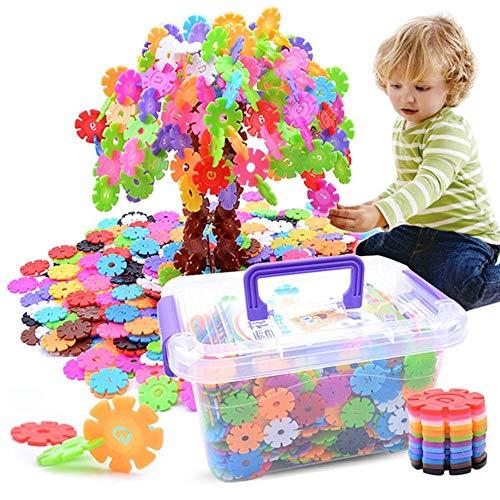 Bloque de madera 580 piezas Niños Bloques de construcción juguete Copos de nieve de plástico creativo Conecte conjuntos de discos de enclavamiento Juguetes educativos con (Color: Multicolor, Tamaño: U