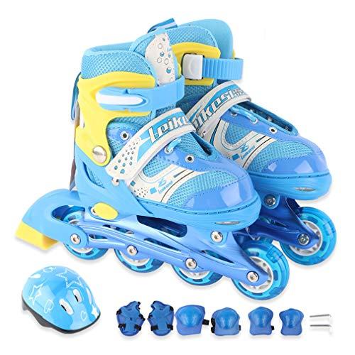 Wangxst Inline Skates voor kinderen, volwassenen, rolschaatsen in maten, flits-rolschaatsen met helmbescherming, slijtvast PU, voor dames en kinderen