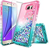 E-Began Case for Samsung Galaxy S7 (2016 Release) with Tempered Glass Screen Protector, Glitter Liquid Floating Gradient Quicksand w/Sparkling Bling Diamond, Durable Girls Women Cute Case -Pink/Aqua