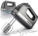 Mueller Electric Hand Mixer, 5 Speed 250W Turbo with Snap-On Storage Case and 4 Stainless Steel...