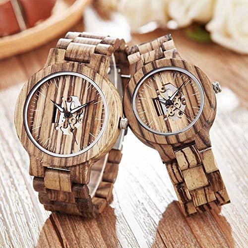 WFE&QFN Hölzerne Uhr Kreative Holz Paar mechanische Uhr männer Frauen Holz Band Armbanduhr Holz Uhr, 2 stück Paar Uhr