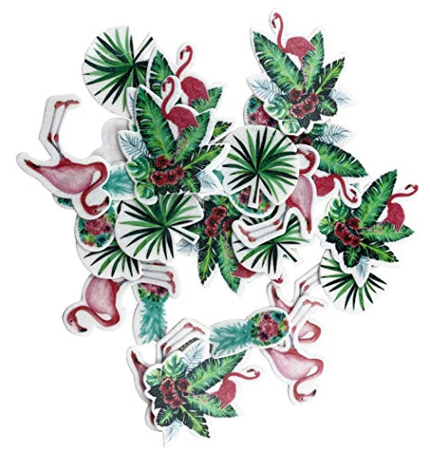 20pcs Edible Flamingo Turtle Leaf Flower Cupcake Cake Toppers Decoration with Plastic Box Package for Hawaii Theme Party