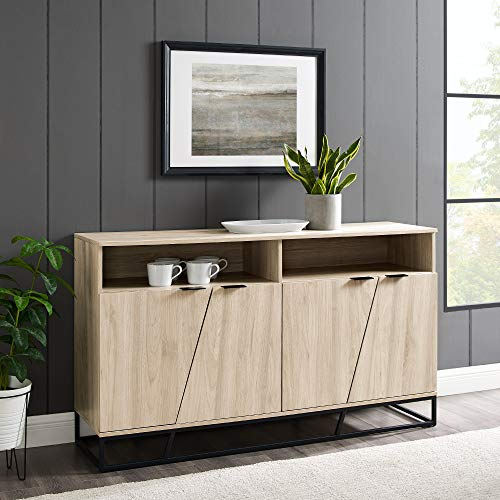Walker Edison Bristol Angled 4 Door-Sideboard for TVs up to 65 Inches, 58 Inch, Birch