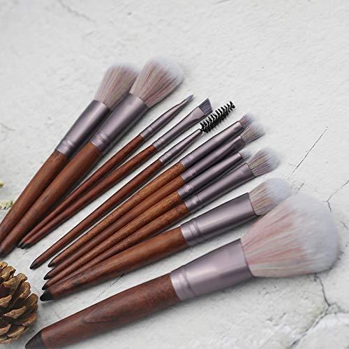 Ensemble De Pinceaux De Maquillage, Pinceau Pour Les Yeux En Couleur 3D, Pinceau De Beauté, 11 Pinceau En Bois De Santal