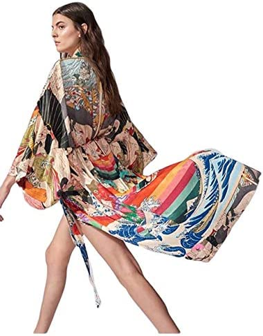 Bsubseach Women Ethnic Print Loose Beach Kimono Cardigan Open Front Swimsuit Cover Up Swimwear product image