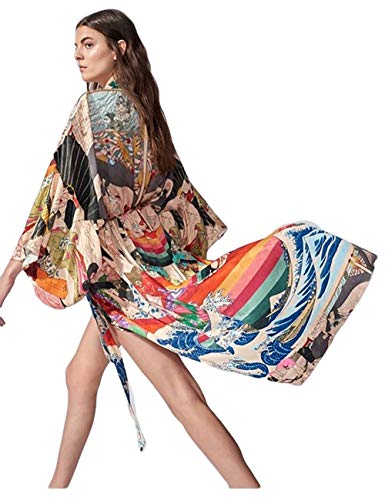 Bsubseach Women Ethnic Print Loose Beach Kimono Cardigan Open Front Swimsuit Cover Up Swimwear with Belt