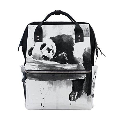 bennigiry Watercolor schwarz und weiß Panda Zeichnen Wickeltasche Rucksack groß Kapazität Reise Back Pack Wickeltaschen Organizer Multifunktions-Baby Staubbeutel für Mama
