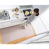 【日本製 撥水 消臭 洗える】サンコー キッチンマット ずれない 台所マット ロング 90×180cm ベージュ おくだけ吸着 KH-83