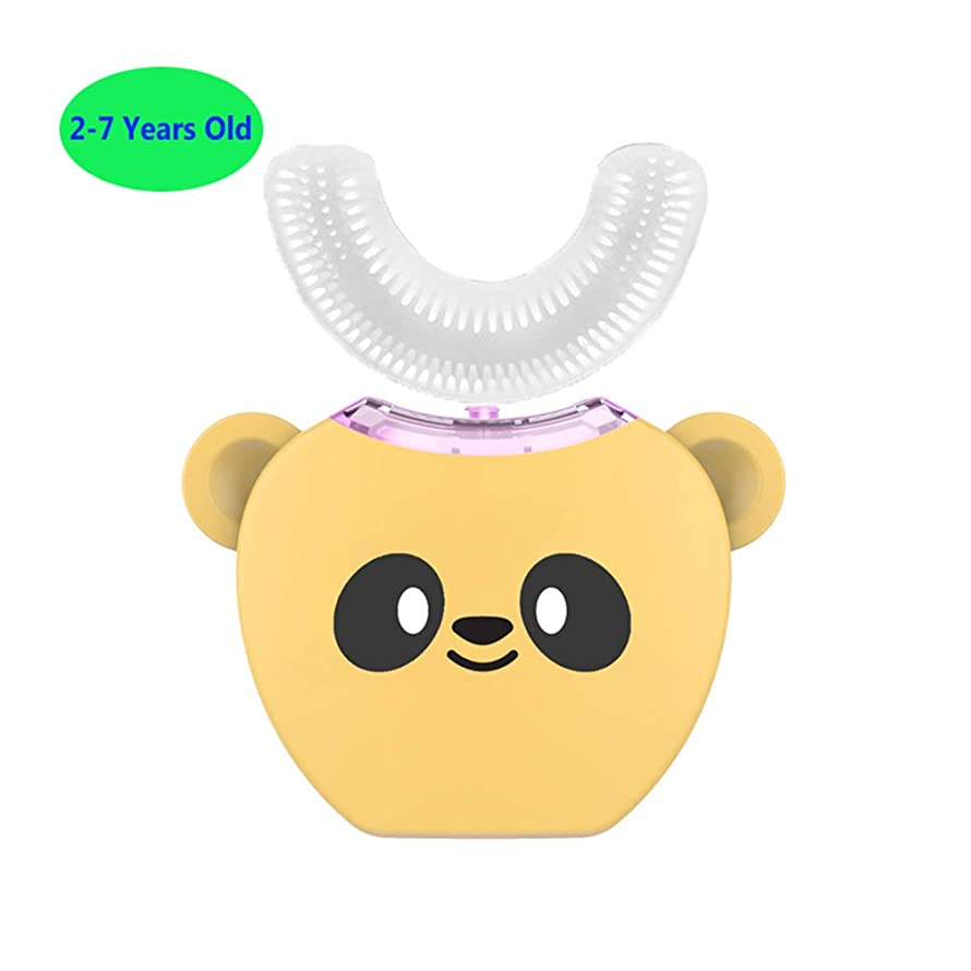 策定する世代なめらか子供のためのフルオートの電動歯ブラシ、360°超音波電動歯ブラシ、冷光、美白装置、自動歯ブラシ、ワイヤレス充電ドック,Yellow,2/7Years