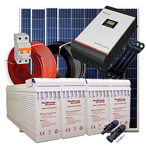 Kit Solar 24V 1.200W / 6.000W Día + 4 Paneles + 4 Baterías FT-250Ah + Inversor Multifunción 5kva con Regulador MPPT 80A