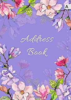 Address Book: A4 Big Contact Notebook Organizer | A-Z Alphabetical Sections | Large Print | Magnolia Wildflower Watercolor Design Blue-Violet
