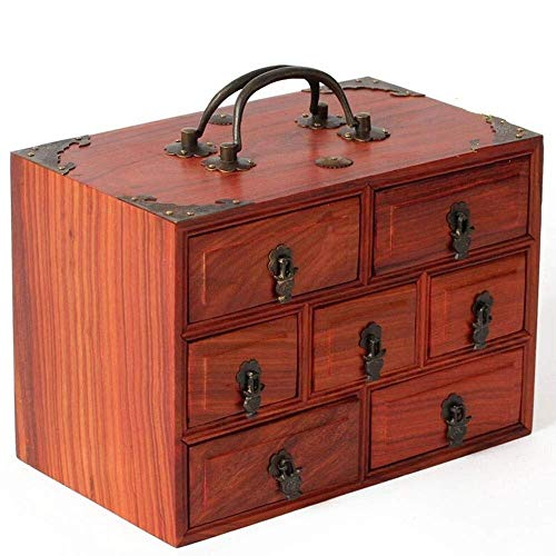 WOZUIMEI Cofre de Joyería Caja de Joyería con Mango Retro Caja de Joyería de Madera para Mujer Regalo de Almacenamiento para Caja de Baratija Femenina