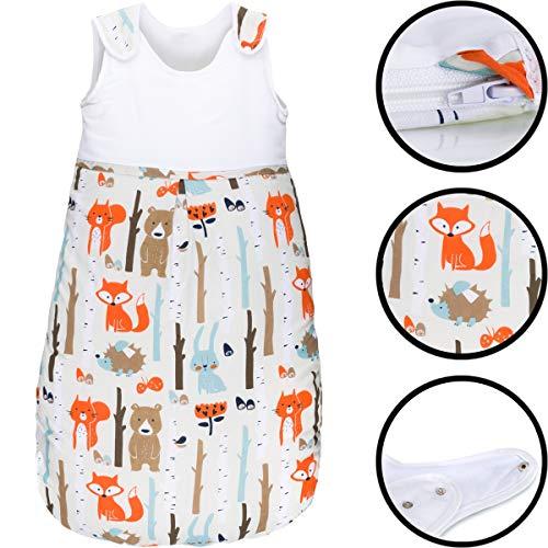 Sommerschlafsack 100% Baumwolle mit Belüftungseinsätzen Schlafsack Kind Baby (Ärmellos) (90cm, Wald-Tiere)