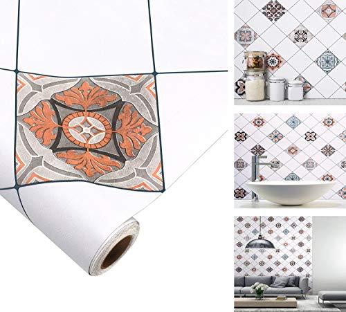 iKINLO Küchenrückwand Folie Mosaikfliese Klebefolie Fliesen Selbstklebende Folie 61x500cm PVC Fliesensticker für Bad und Küche Tapete Fliesenfolie Dekofolie