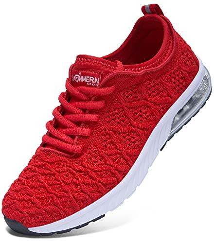 LARNMERN Zapatos de Running para Mujer Transpirables Deportivas para Correr Fitness Atlético Caminar Sneakers(Rojo 37)