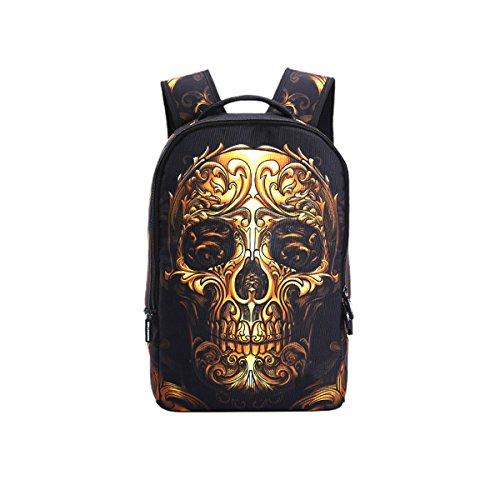 TINKSKY Unique Skull Print Students School Backpacks for Teenage Boys Girls Laptop Bags (Gold Skull)