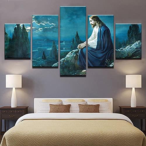 XXL Cuadros Decoracion Salon 5 Piezas Lienzo Grandes Jesús 5 Piezas Cuadro de Pared Impresión Artística 5 Lienzo Deco para Tu Oficina o Dormitorio