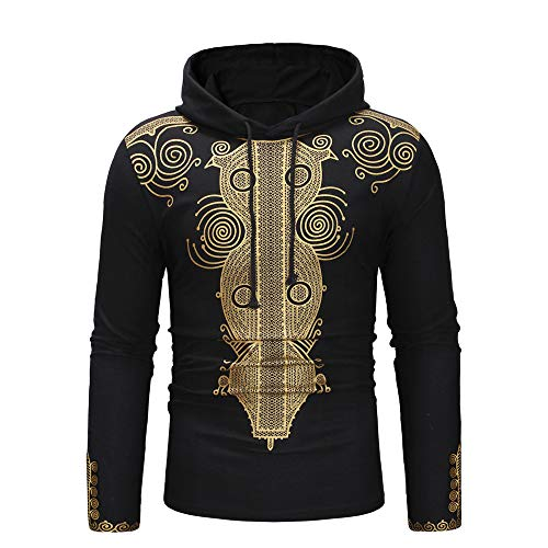 African Hooded for Men,Dashiki Print Hoodie Ethnic Pullover Slim Fit Sweatshirt Long Sleeve Drawstring Shirt by Leegor Black