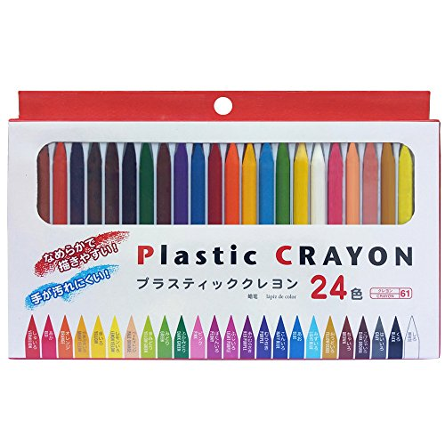Plastic Crayon with 24 Colors, Smooth, Easy to Write.
