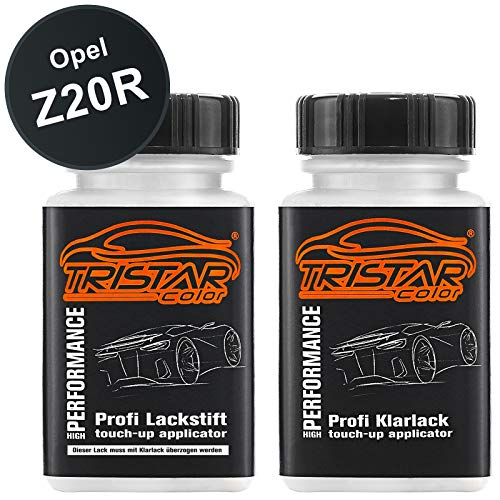 TRISTARcolor Autolack Lackstift Set für Opel Z20R Saphirschwarz Metallic/Black Sapphire Metallic Basislack Klarlack je 50ml