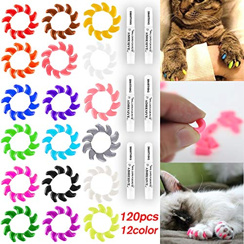 Smarthing 120Pcs(12Color) Cat Claw Caps Soft Rubber Pet Paws Nail Grooming Cover + 6 Pcs Adhesive Glue(M)