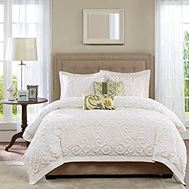 Harbor House Suzanna Duvet Cover King Size - Ivory, Medallion Duvet Cover Set – 3 Piece – Cotton Light Weight Bed Comforter Covers
