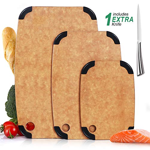 Masthome 3 Piece Wood Cutting Board Eco-Friendly with Anti-slip Silicone Dishwasher Safe BPA Free Non Porous Reversible Chopping Boards