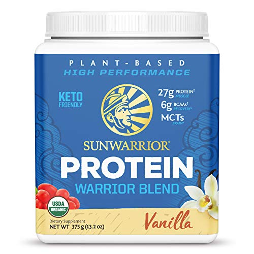 Sunwarrior - Warrior Blend - Plant Based Raw Vegan Pea Protein Powder with Hemp Protein and MCTs from Coconut - Vanilla - 375g