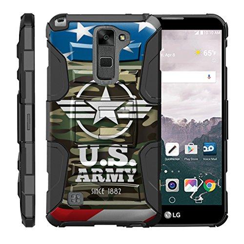 turtlearmor | kompatibel für LG Stylus 2Fall | LG G Stylo 2Fall [Hyper Schock] Rugged Hybrid Hard Shell Ständer Holster Clip Militär Krieg Roboter Android Design -, Army Camo Flag