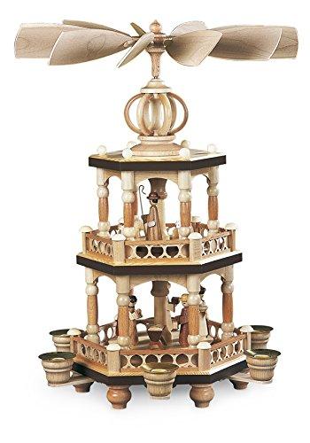 Tafelpiramide tafelpiramide heilige geschiedenis 2 verdiepingen natuur (LxBxH):28x28x40cm NIEUW tafeldecoratie decoratie kerstmis warmte-spel lichten figuur edelhout zeep Ertsgebergte hout vleugels kaarsen