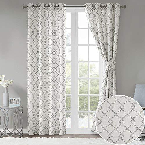 white pattern curtains amazon com rh amazon com gray curtains design ideas
