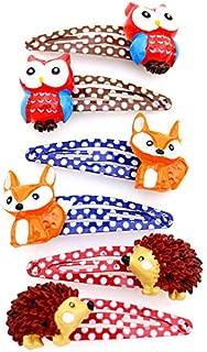Girl Colorful Snap Hair Clips - Toddler Animal Hair Clips - Owl Fox Hedgehog Hair Tools