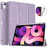Soke iPad Air 4 Case 10.9 Inch 2020 with Pencil Holder - [Full Body Protection + Apple Pencil Charging], Soft TPU Back Cover for 2020 New iPad Air 4th Generation,Violet