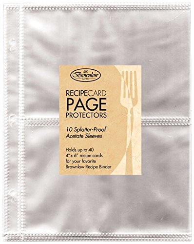 Brownlow Gifts Universal Recipe Card Refill Sheets, Clear