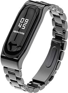 XIHAMA For Xiaomi Mi Band 4 Mi Band 3 高級 ステンレスチール 交換バンド 腕時計 替えストラップ シャオミ3 バンド ブレスレット ベルト (三珠, ブラック)